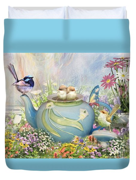 Duvet Cover featuring the digital art  Tiny Tea Party by Trudi Simmonds