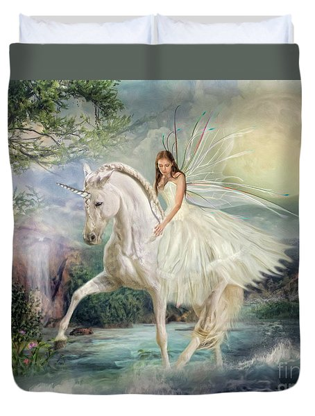 Duvet Cover featuring the digital art  Unicorn Magic by Trudi Simmonds