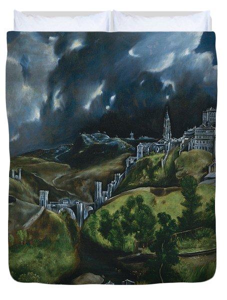 View Of Toledo Duvet Cover