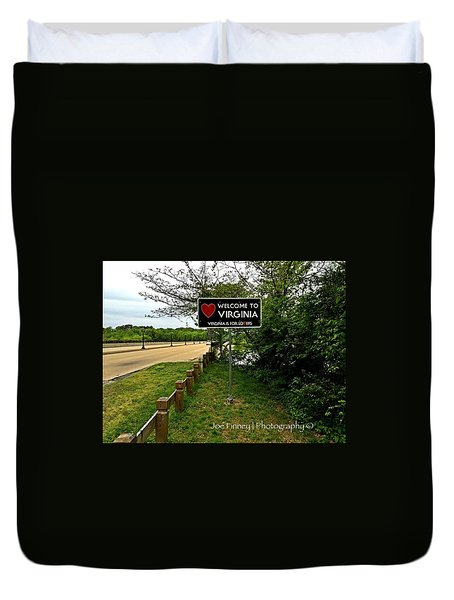 Duvet Cover featuring the digital art  Welcome To Virginia  - No.430 by Joe Finney