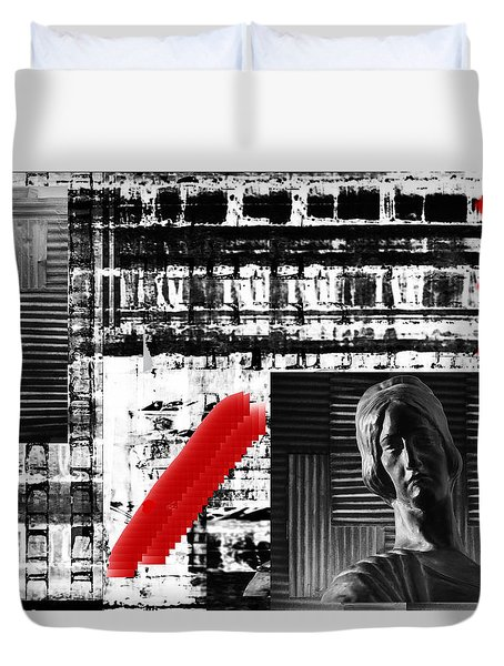 Where In The Riddle The Answer Hides And Red Duvet Cover by Danica Radman