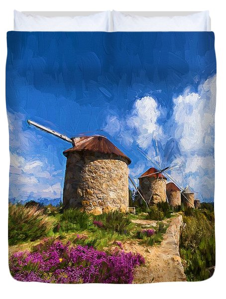 Windmills Of Portugal Duvet Cover