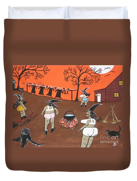 Duvet Cover featuring the painting  Witches Wash Day by Jeffrey Koss