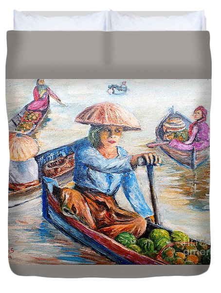 Women On Jukung Duvet Cover