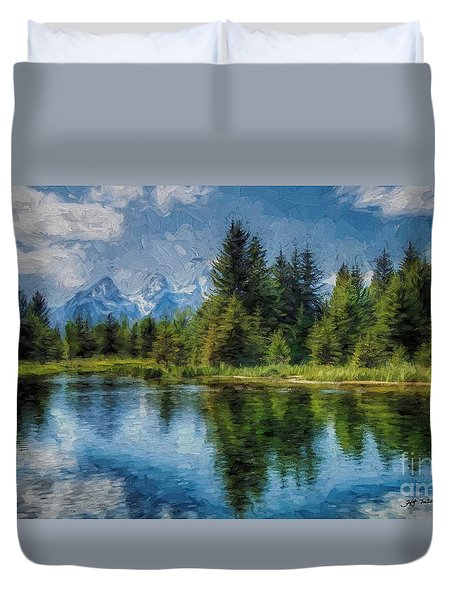 Wyoming Tetons Spruce Mountain Lake. Oil Painting . Duvet Cover by Heinz G Mielke