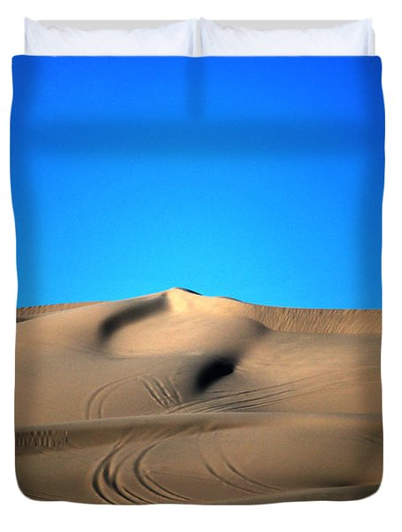Yuma Dunes Number One Bright Blue And Tan Duvet Cover