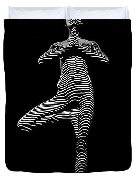 0027-dja Yoga Balance Black White Zebra Stripe Photograph By Chris Maher Duvet Cover