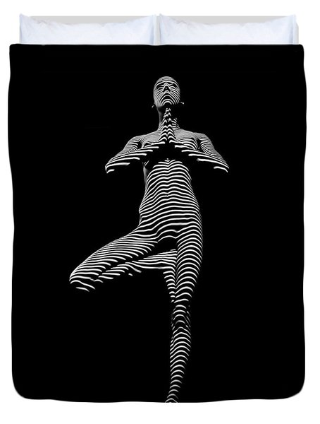 0027-dja Yoga Balance Black White Zebra Stripe Photograph By Chris Maher Duvet Cover