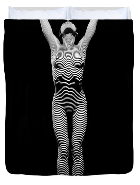 0029-dja Light Above Illuminates Zebra Striped Woman Slim Body Black And White Fine Art Chris Maher Duvet Cover