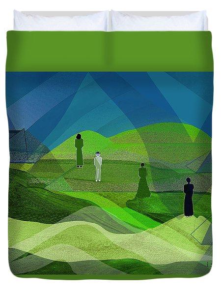 009  Human Figures In Landscape 2017 Duvet Cover