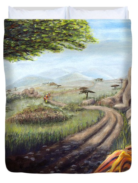 01304 Road Home--kenya Duvet Cover by AnneKarin Glass