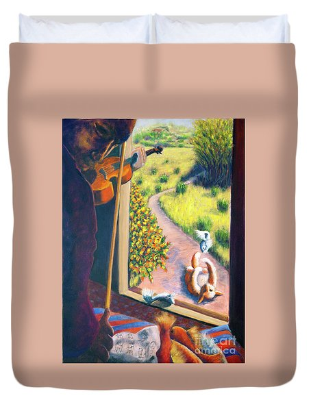 01349 The Cat And The Fiddle Duvet Cover by AnneKarin Glass