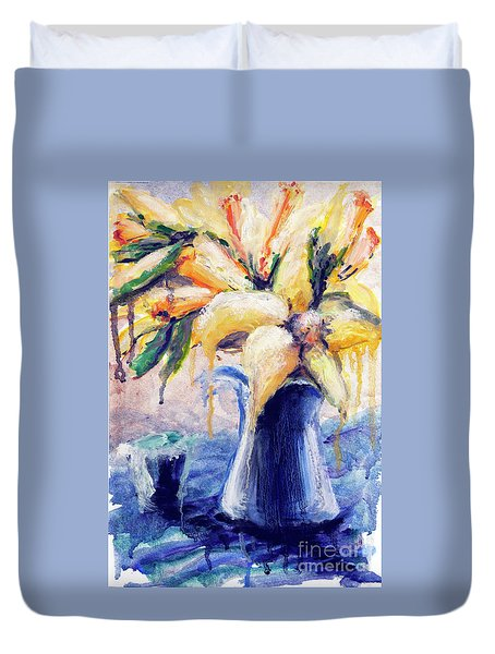 01353 Daffodils Duvet Cover by AnneKarin Glass