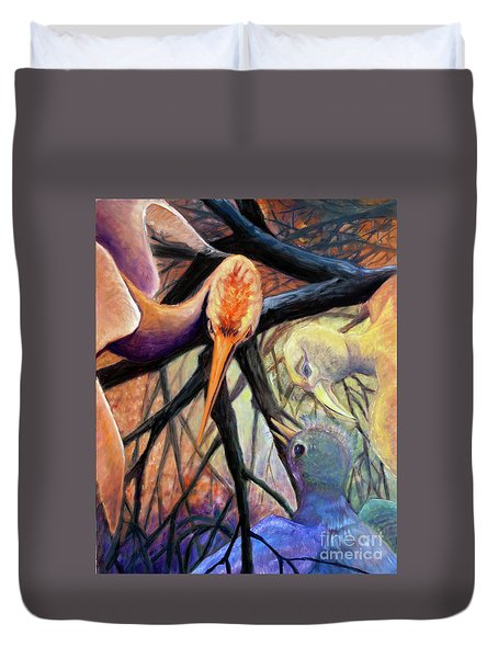01357 Jungle Talk Duvet Cover by AnneKarin Glass
