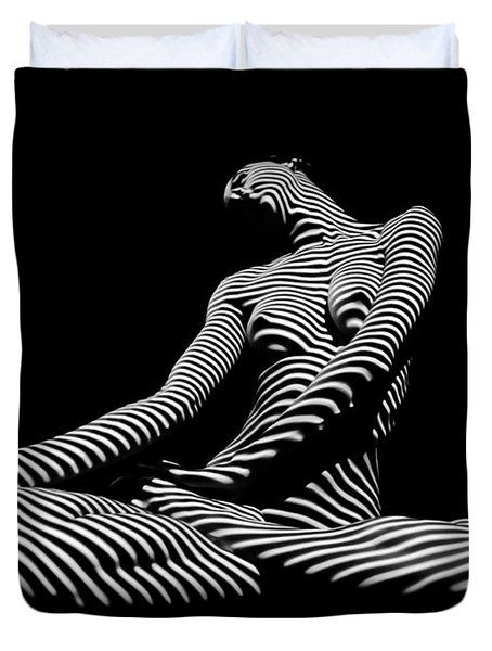 0174-dja Lotus Zebra Woman Sensual Feminine Black And White Figure Study Duvet Cover