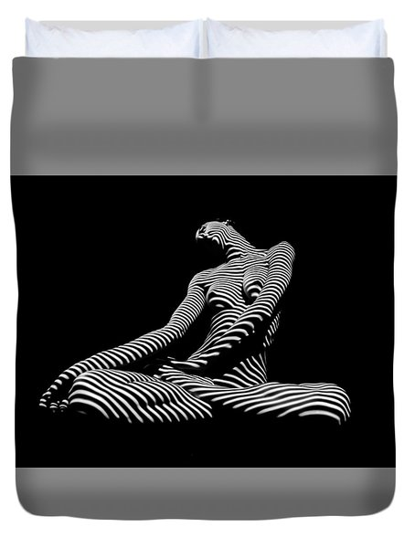 0174-dja Lotus Zebra Woman Sensual Feminine Black And White Figure Study Duvet Cover
