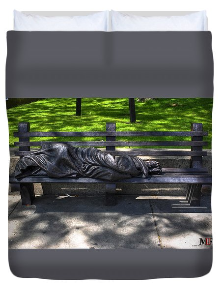 02 Homeless Jesus By Timothy P Schmalz Duvet Cover by Michael Frank Jr