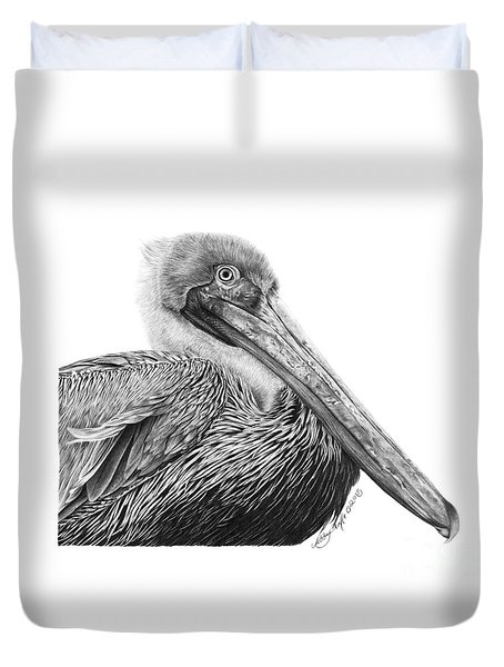 047 - Sinbad The Pelican Duvet Cover by Abbey Noelle
