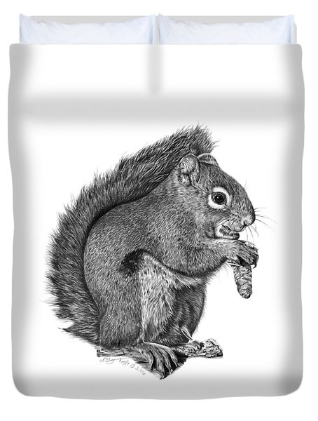058 Sweeney The Squirrel Duvet Cover by Abbey Noelle