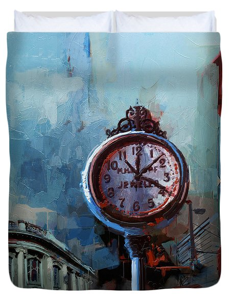 060 Milwaukee County Historical Society's Street Clock Frozen In Time Duvet Cover