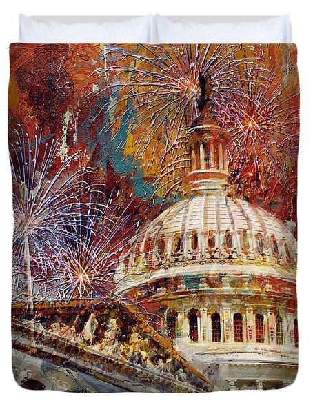 070 United States Capitol Building - Us Independence Day Celebration Fireworks Duvet Cover by Maryam Mughal
