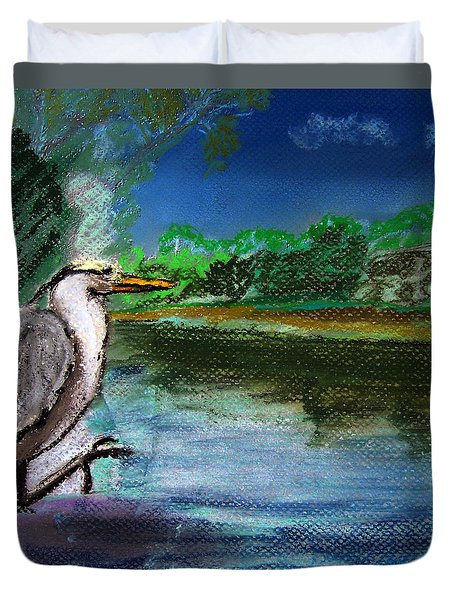 071115 Blue Heron Pastel Sketch Duvet Cover