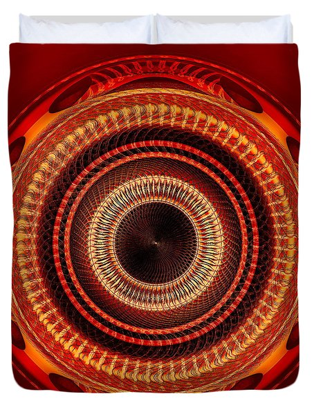 Duvet Cover featuring the digital art #091520152 Orange Version by Visual Artist Frank Bonilla