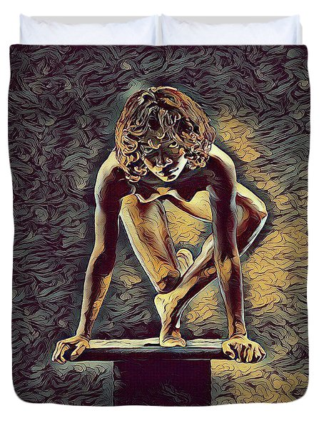 0948s-zak Dancer Balanced On Pedestal In The Style Of Antonio Bravo  Duvet Cover