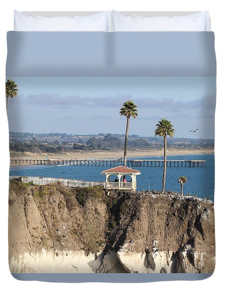 Pismo Beach Gazebo And Pier Duvet Cover