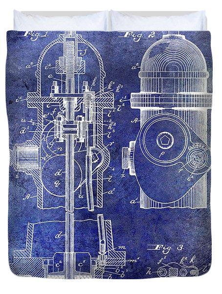 1903 Fire Hydrant Patent Blue Duvet Cover