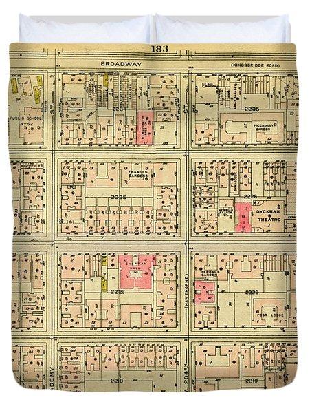 1927 Inwood Map  Duvet Cover