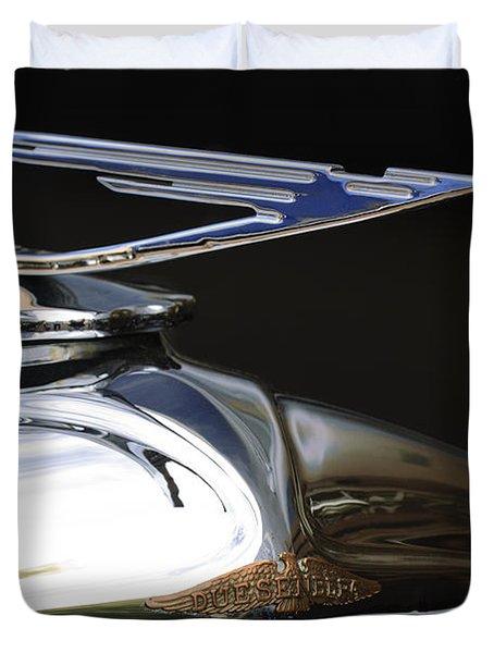 1929 Duesenberg Model J Hood Ornament Duvet Cover by Jill Reger
