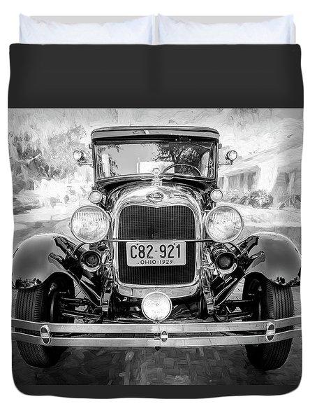 1929 Ford Model A Tudor Police Sedan Bw Duvet Cover by Rich Franco