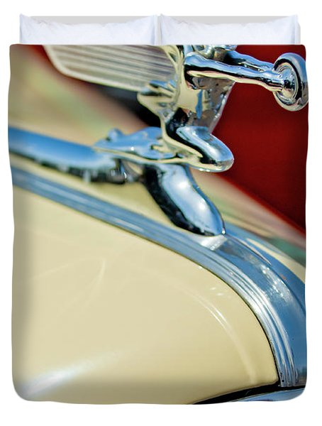 1940 Packard Hood Ornament Duvet Cover by Jill Reger