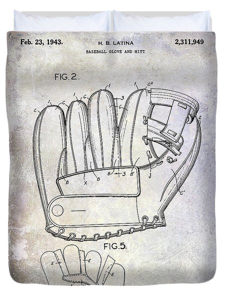 1943 Baseball Glove Patent Duvet Cover by Jon Neidert