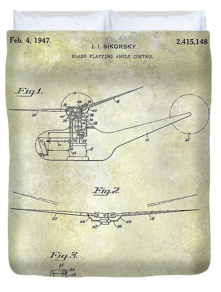 1947 Helicopter Patent Duvet Cover