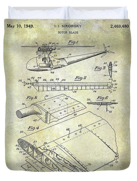 1949 Helicopter Patent Duvet Cover