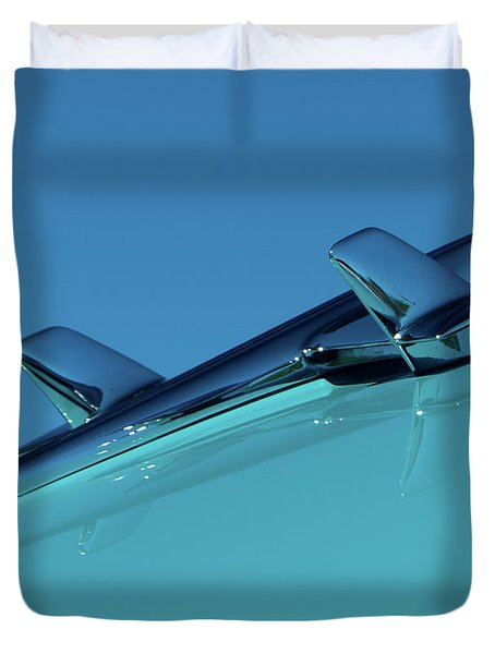 Duvet Cover featuring the photograph 1956 Chevy Belair Hood Ornament 2 by Jani Freimann