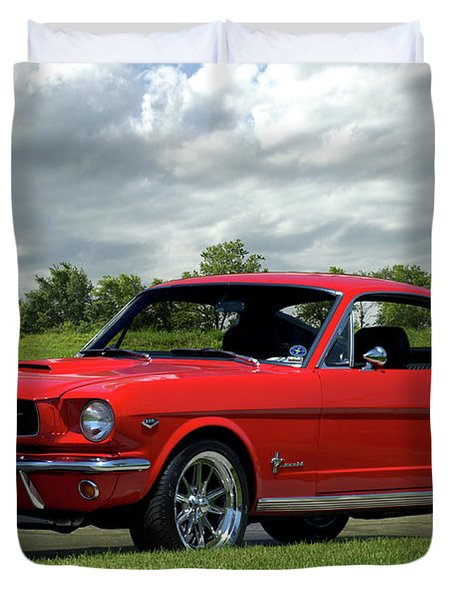Duvet Cover featuring the photograph 1965 Mustang Fastback by Tim McCullough