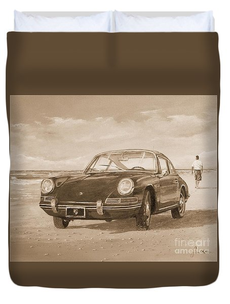 1967 Porsche 912 In Sepia Duvet Cover