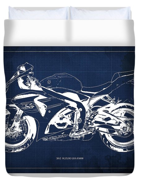 2012 Suzuki Gsx-r1000 Motorcycle Blueprint Art For Men's Cave Duvet Cover