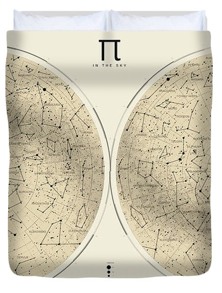 2017 Pi Day Star Chart Azimuthal Projection Duvet Cover by Martin Krzywinski