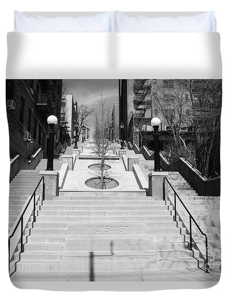 215th Street Stairs Duvet Cover