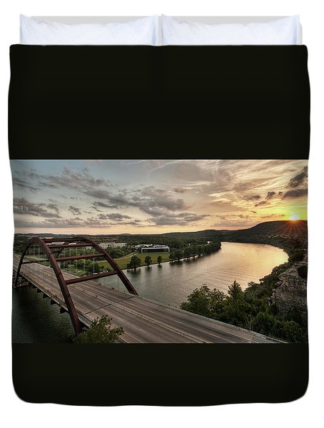 360 Bridge Sunset Duvet Cover