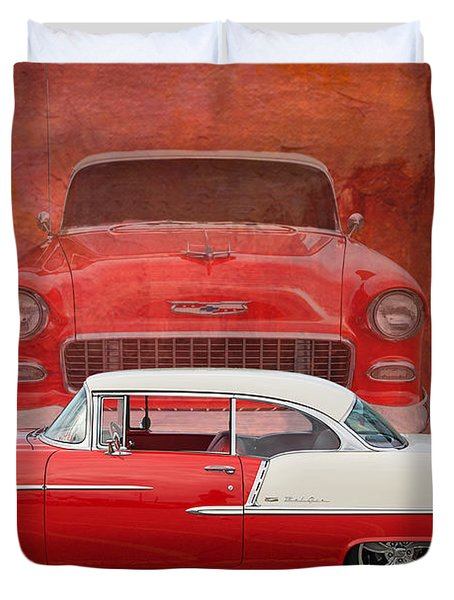 55 Chev Duvet Cover by Jim  Hatch