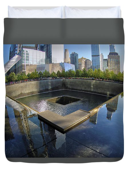 Duvet Cover featuring the photograph 9/11 Memorial by Mitch Cat
