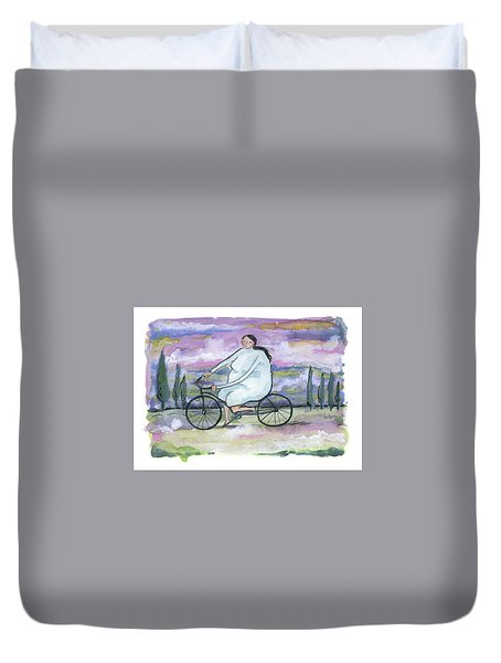 A Beautiful Day For A Ride Duvet Cover by Leanne WILKES