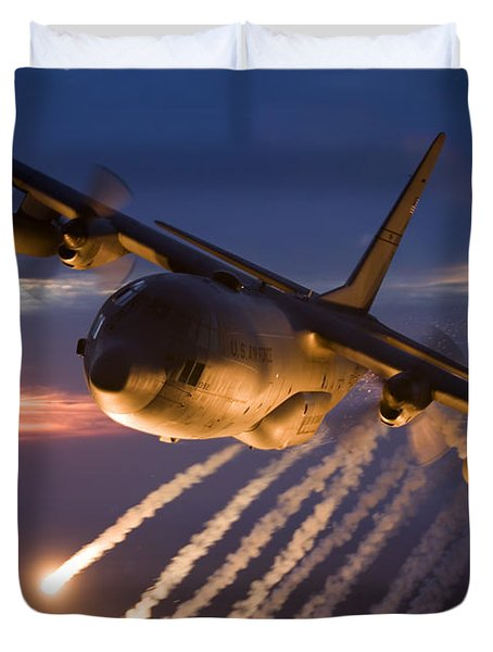 Duvet Cover featuring the photograph A C-130 Hercules Releases Flares by HIGH-G Productions