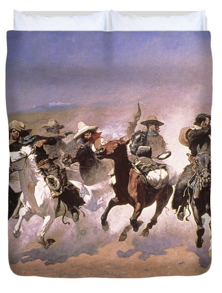 A Dash For The Timber Duvet Cover by Frederic Remington