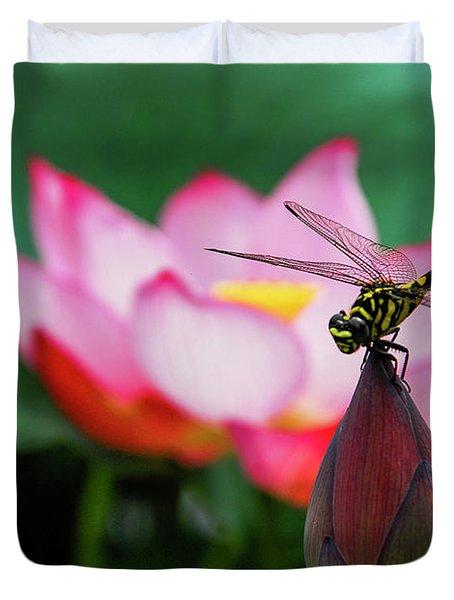 A Dragonfly On Lotus Flower Duvet Cover